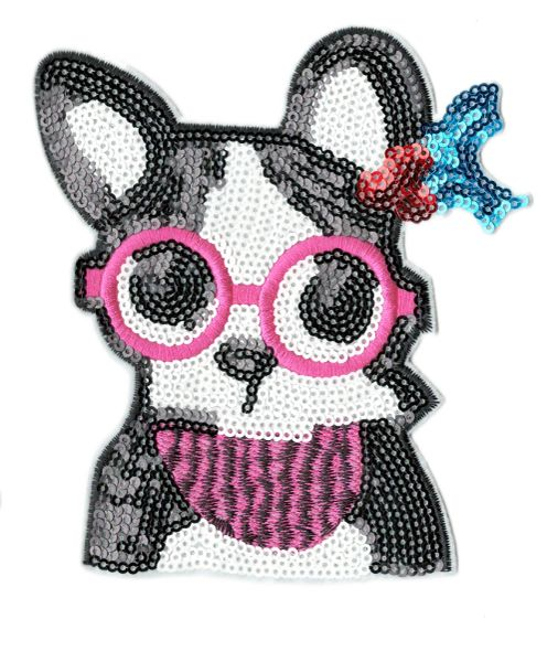 Boston Terrier Dog Patch Sequins XL Extra Large 14cm