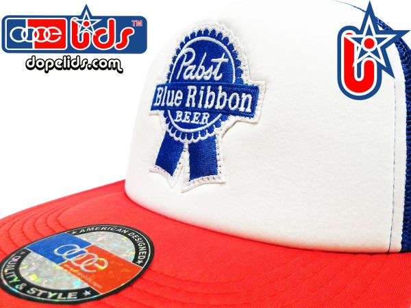 smartpatches Truckers Pabst Blue Ribbon PBR Vintage Style Trucker Hat (Red, White and Blue)