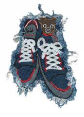 Denim Sneakers Teddy Bear Patch XXL 23cm