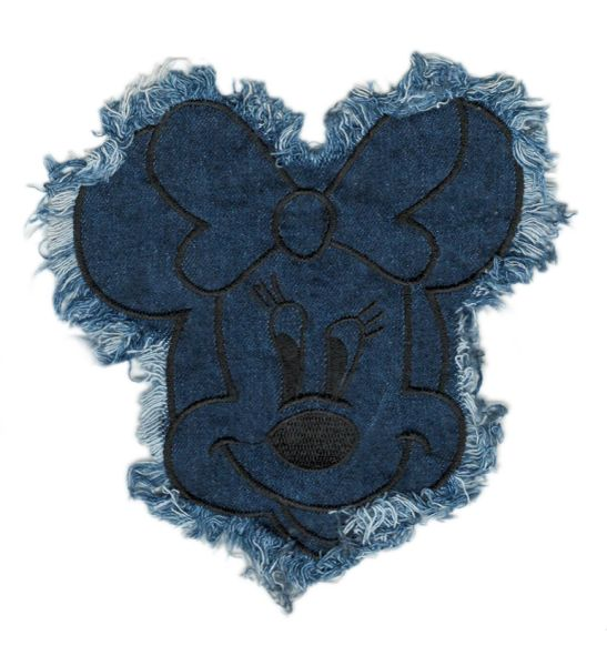 Denim Minnie Mouse Patch XL 18cm