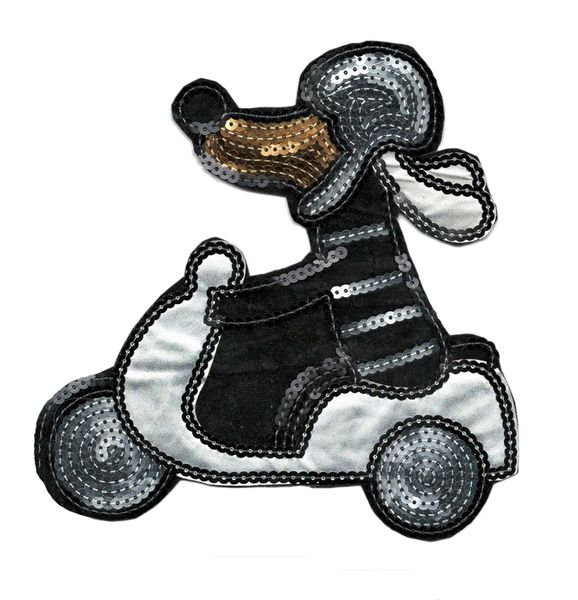 Dog on Vespa Patch Sequins 19cm