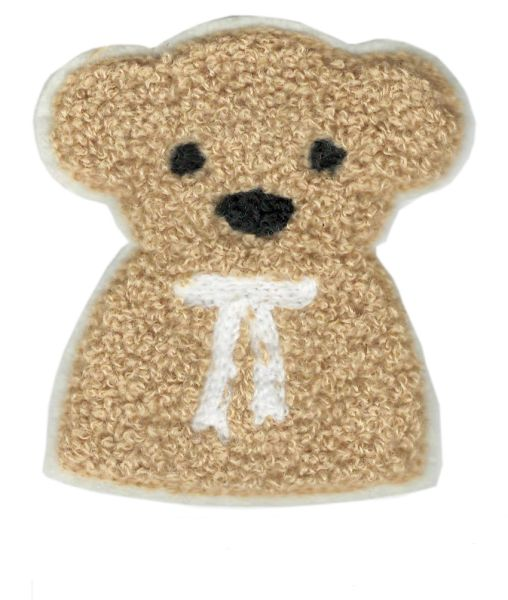 Chenille Teddy Bear Patch Bust 10cm
