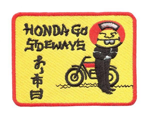 "Honda Vintage Style Dirt Bike Mototcycle Patch ""Honda Go Sideways"" 10cm x 7.5 cm"