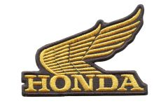 Honda Wing (Gold) Vintage Style Motorcycle Patch 10cm x 7cm (3 colors inside)