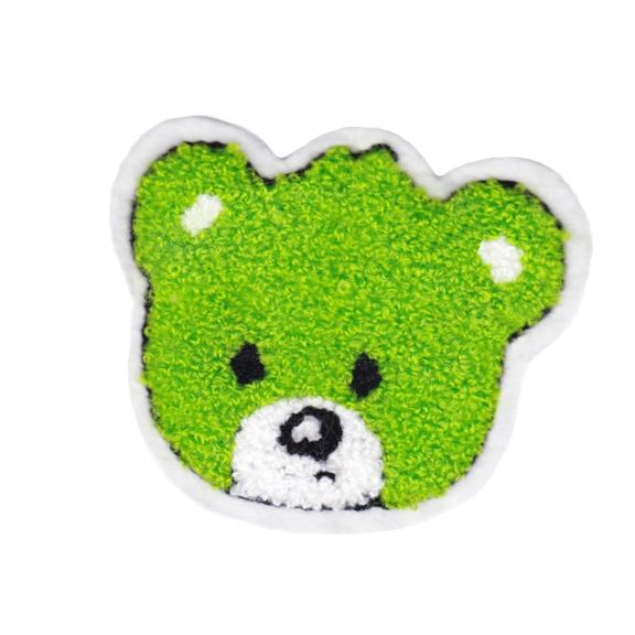 Green Teddy Bear Patch Chenille 9cm