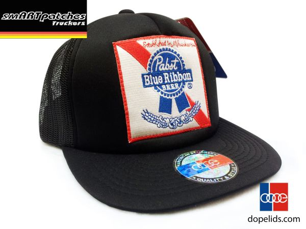 0d27c8b6d smartpatches Pabst Blue Ribbon PBR Vintage Style Trucker Hat (Solid Black)