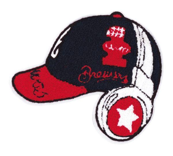 Chenille Hat & Headphones Patch Hip Hop DJ 24cm