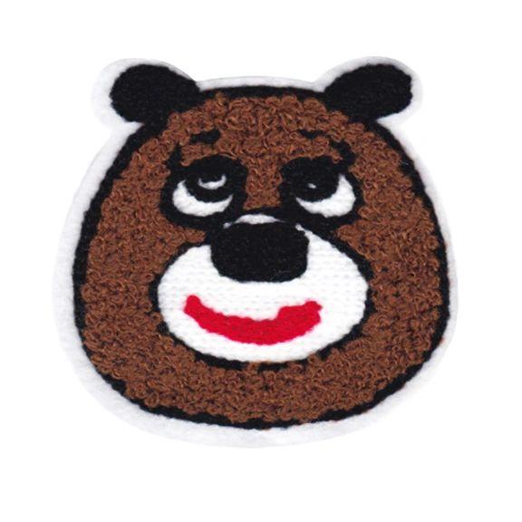 Chenille Brown Teddy Bear Patch 8cm