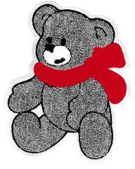 Chenille Gray Teddy Bear Patch 25cm