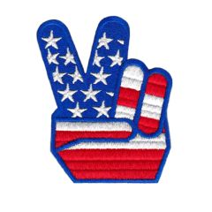 Cool Vintage Style Peace Fingers American Flag Patch 8cm