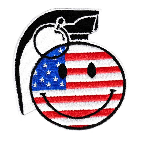 American USA Flag Happy Smiley Face Grenade Patch 9cm