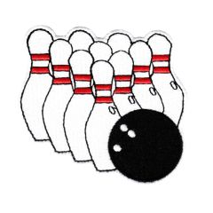 Bowling Patch Ball & Pins 8cm (Pack of 10 Patches)