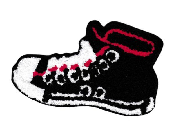 XL Extra Large Chenille Hi Top Black Shoe Patch 14cm