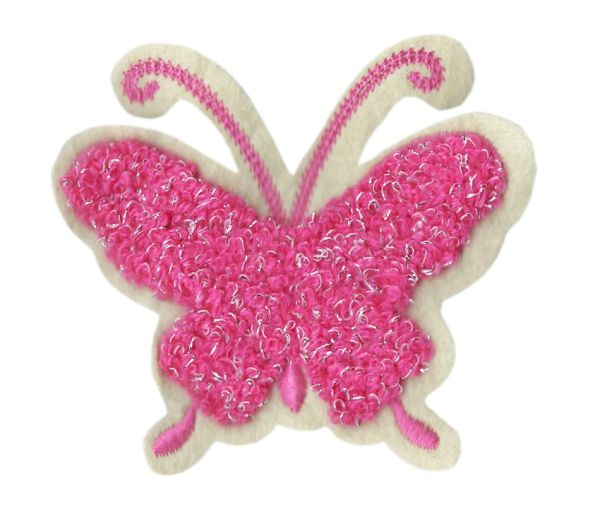 Cute Chenille Pink Butterfly Patch 8.5cm