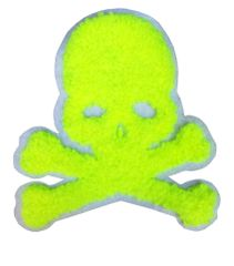 Cool Neon Green Chenille Skull Patch 9.5cm