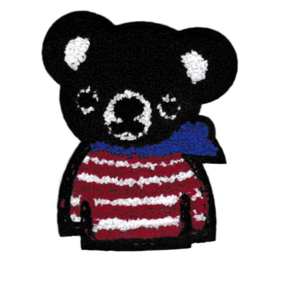Chenille Teddy Bear Patch XL 13cm (navy blue)