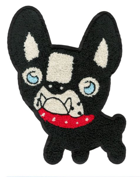 Boston Terrier Chenille Dog Patch XXL Extra Large (26cm) Applique