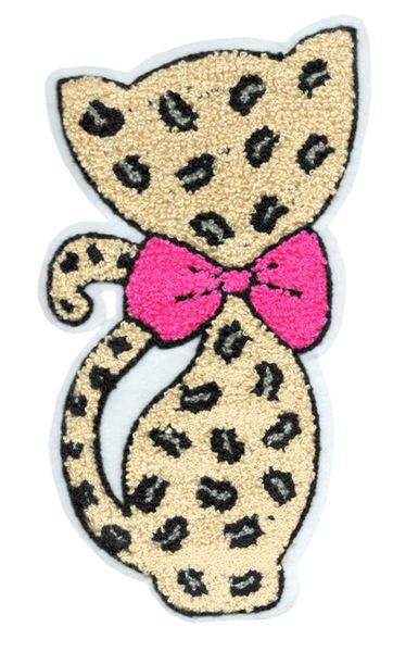 Adorable Chenille Leopard Kitty Cat Patch XXL Extra Large 22cm Applique