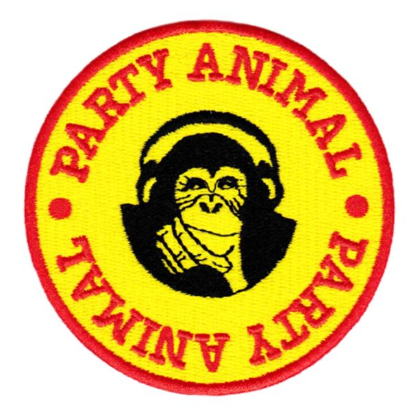 Vintage Style 80's Party Animal Chimp & Headphones Morale Patch 8cm Applique