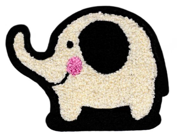Adorable Chenille Elephant Patch XL Extra Large 13cm Applique