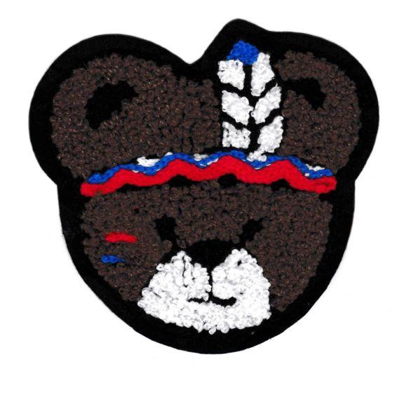 Adorable Chenille Indian Bear Patch Large 10cm Applique