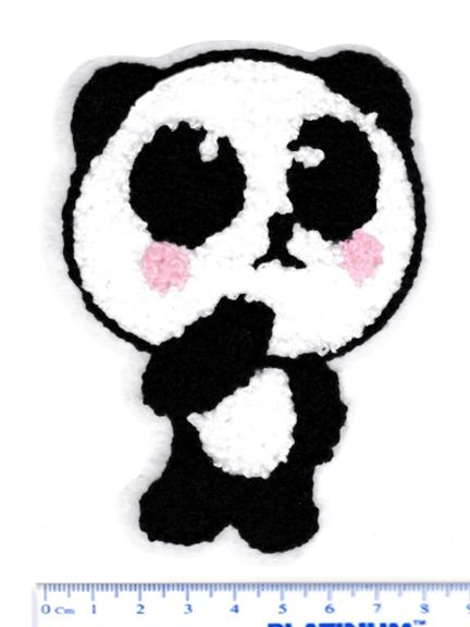 Adorable Chenille Panda Patch Large 11cm Applique