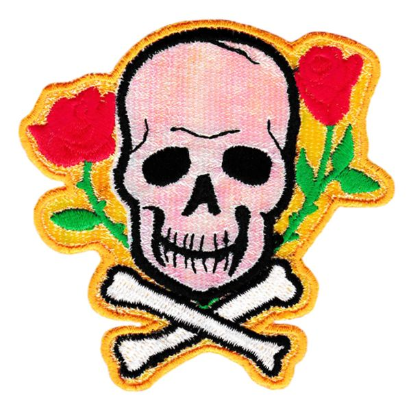 Cute Skull Crossbones & Roses Patch 9cm Applique