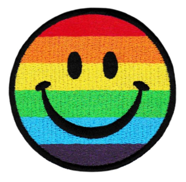 Fabulous LGBT Gay, Lesbian & Bisexual Rainbow Smiley Patch 8cm Applique