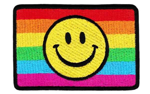 Fabulous LGBT Gay, Lesbian & Bisexual Rainbow Smiley Patch 9cm Applique
