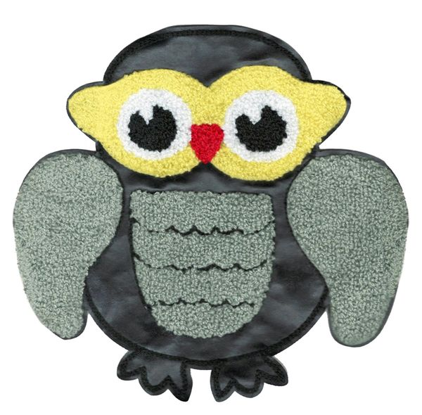 Adorable & Cute Chenille & Vinyl Owl Patch XL Extra Large 20cm Applique