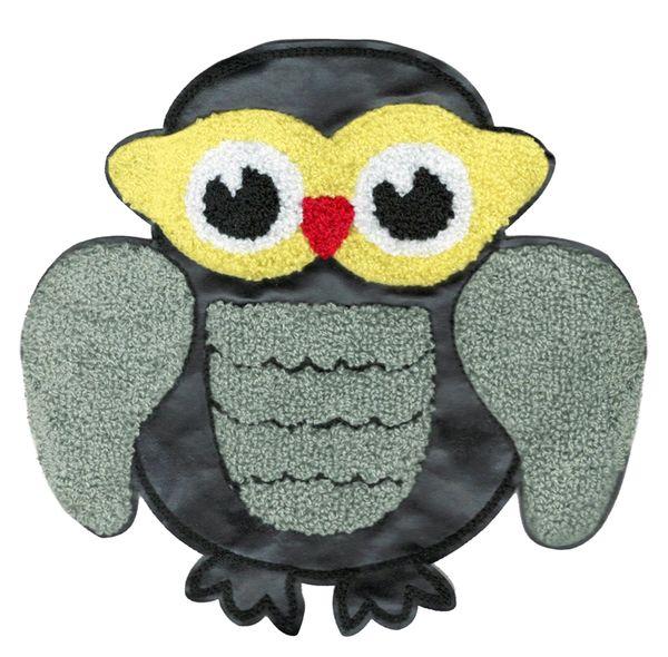Adorable & Cute Chenille & Vinyl Owl Patch XL Extra Large 20cm Applique