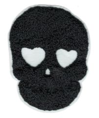 Cool Chenille Black Skull Patch 10cm Applique