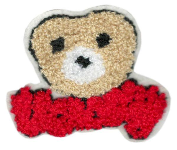 Chenille Varsity Teddy Bear Patch 9cm