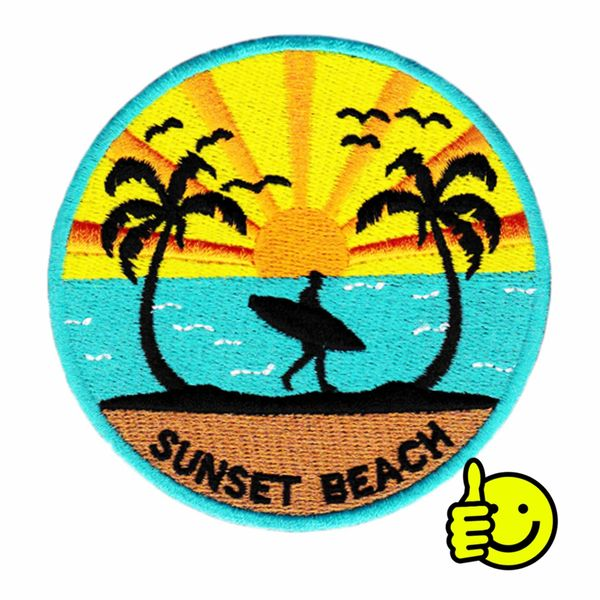 Vintage Style 80's Surfing Surfer Sunset Beach Patch 9cm
