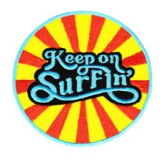 "Vintage Style 70's 80's Hawaii California Surf Surfing ""Keep on Surfin'"" Patch 8cm"