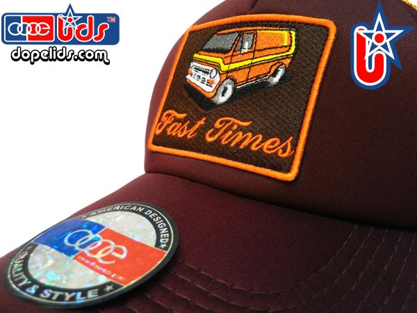 smartpatches Truckers Custom 70's Van Trucker Hat Curved Bill (Cinnamon & Orange)