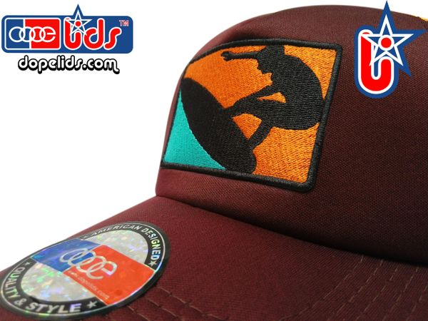 "smartpatches Truckers ""Sunny Surfer"" Trucker Hat Curved Bill (Cinnamon & Orange)"