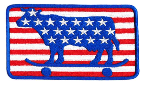 USA Skater Cow Skater Patch 10cm x 6.5cm (Many Stars)