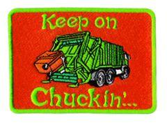 Vintage Style 70's 80's Keep on Chuckin' Truckin Garbage Truck Trucker Patch 10cm Applique