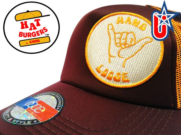 smartpatches Truckers Hang Loose Surfing Trucker Hat Curved Bill (Cinnamon & Orange)