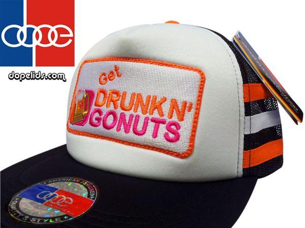 "smartpatches ""Get Drunk n' Gonuts"" Vintage Style Trucker Hat"