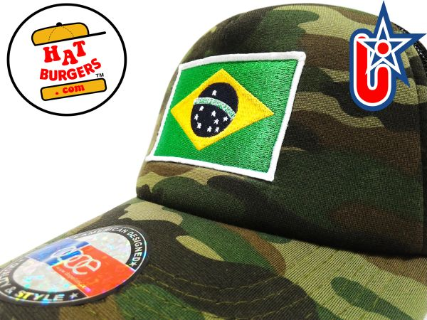smartpatches Truckers Brazil Brazilian Flag Trucker Hat Curved Bill (Camo)