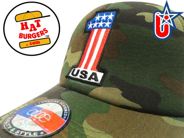smARTpatches Truckers USA 1 Trucker Hat Curved Bill (Camo)