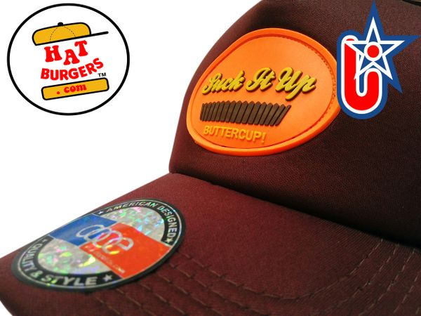 "smARTpatches Truckers ""Suck It Up Buttercup"" Funny Morale Trucker Hat Curved Bill (Cinnamon & Orange)"
