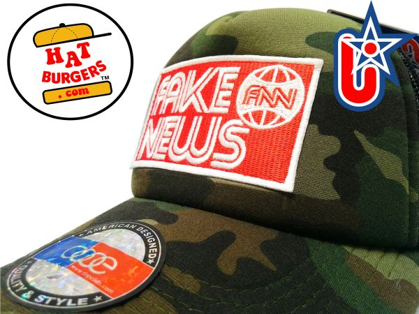 "smARTpatches Truckers ""Fake News"" Trucker Hat Curved Bill (Camo)"