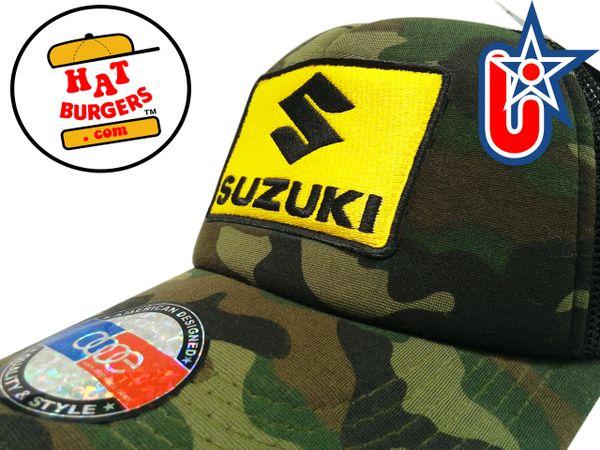 smARTpatches Truckers Vintage Style Motorcycle Suzuki Trucker Hat (Camo)
