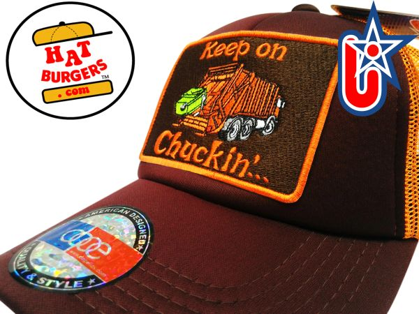 "smARTpatches Truckers ""Keep on Chuckin"" Keep on Truckin 70's Garbage Truck Trucker Hat Curved Bill (Cinnamon & Orange)"
