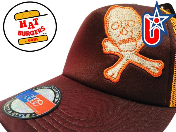 smARTpatches Truckers Skull Trucker Hat Curved Bill (Cinnamon & Orange)