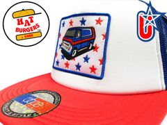 smARTpatches Truckers Keep on Truckin Vintage Custom 70's Van Trucker Hat (Red/White/Blue)