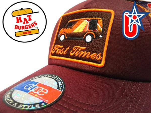 "smARTpatches Truckers ""Fast Times"" Vintage Custom Van Trucker Hat (Cinnamon & Orange)"